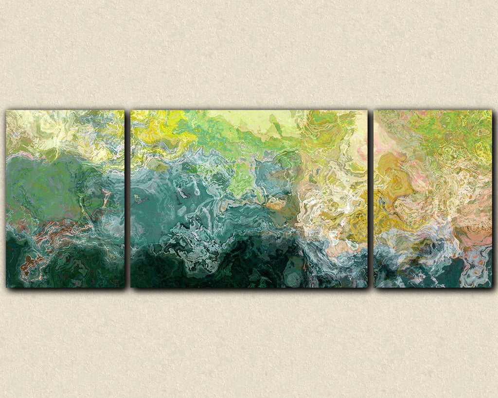 Oversized triptych abstract art canvas print in blue green and yellow