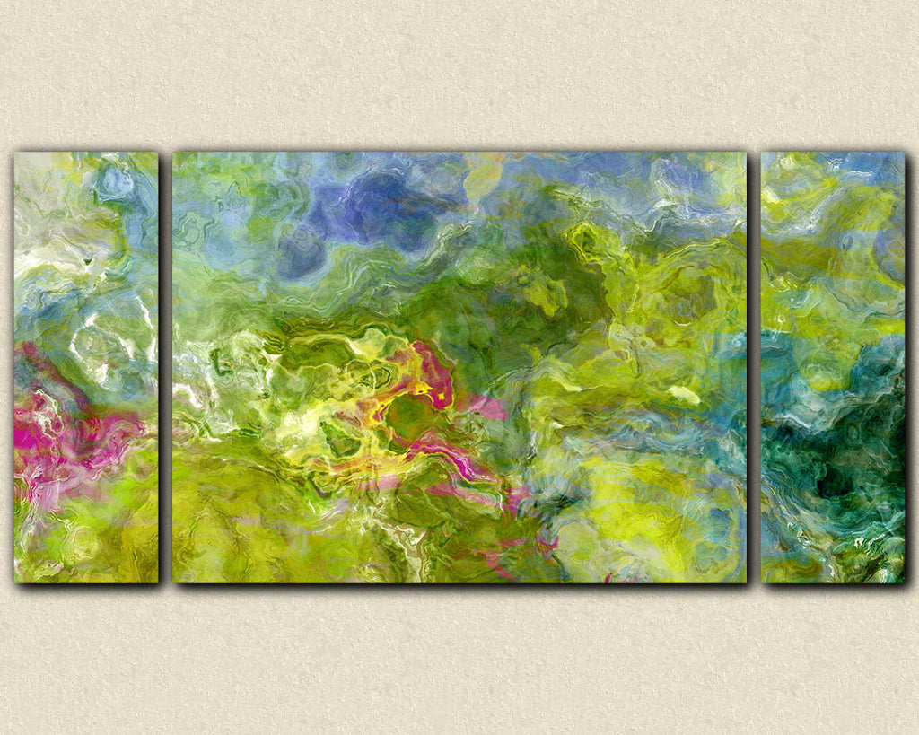 Large triptych abstract expressionism green stretched canvas print