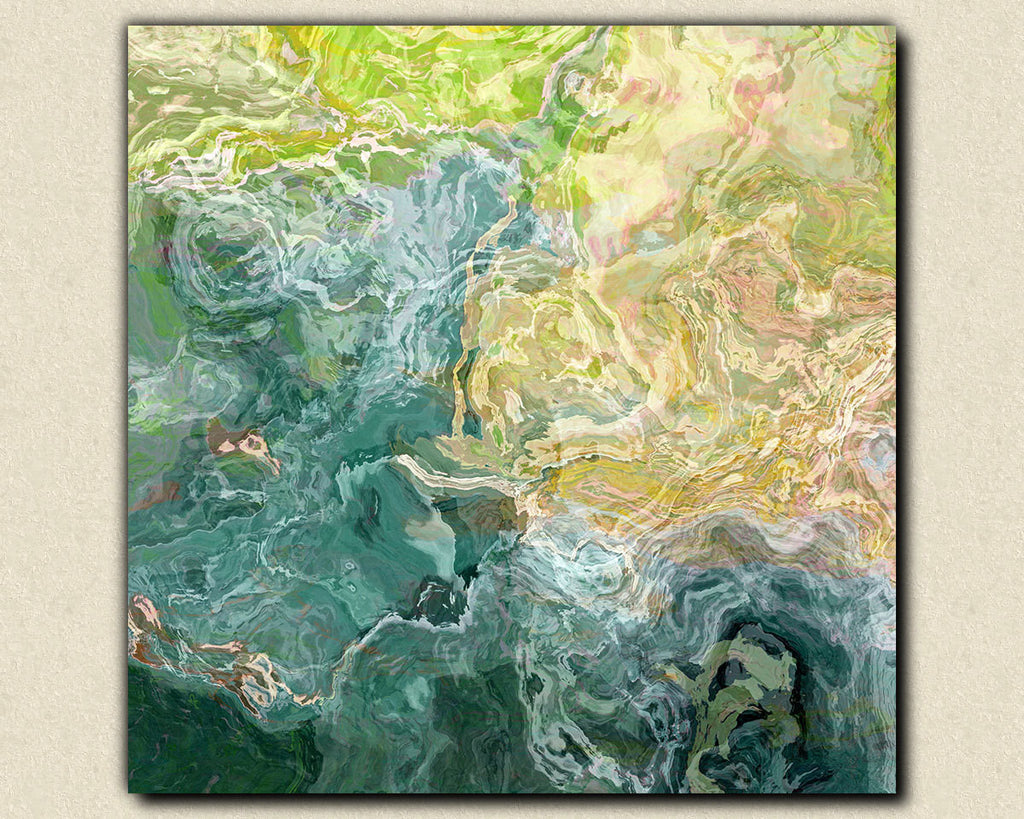 Contemporary abstract art canvas print in blue green and aqua