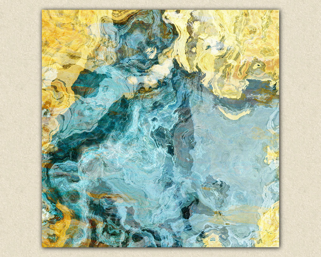 Contemporary art abstract giclee canvas print yellow and aqua