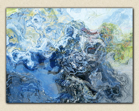 "Large abstract wall art, 30x40 to 40x54 giclee canvas print with gallery wrap, ""Liquid Assets"""