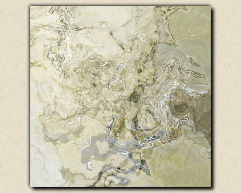 "Large modern art stretched canvas print, 30x30 to 36x36 abstract in pale neutral tones, ""Ice Age"""
