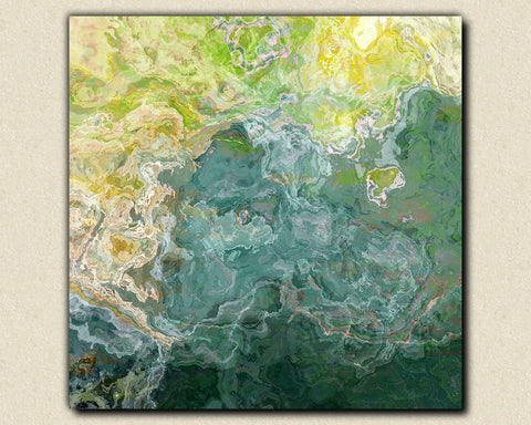 "Contemporary art abstract giclee canvas print with gallery wrap, 24x24 to 36x36 in blue, green and aqua, ""Sea Side"""