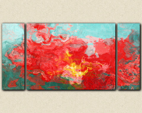 Abstract expressionism triptych canvas print in red, blue and green