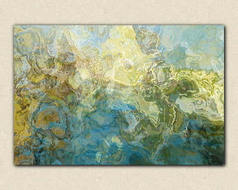 "Abstract expressionism canvas print, 30x40 to 40x54  gallery wrap giclee in aqua and white, ""Winter Creek"""