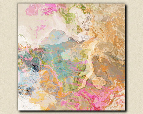 Large abstract expressionism stretched canvas print pastel colors