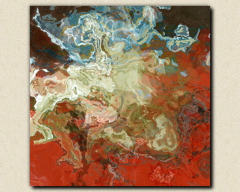 Contemporary abstract expressionism art canvas print red and aqua