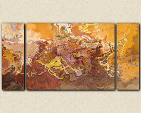 "Large contemporary triptych, 30x60 to 40x78 stretched canvas print in rust, orange and brown, ""Southwest Destination"""