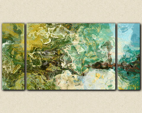 "Oversize abstract expressionism stretched canvas print, 30x60 to 40x78 in teal, brown and green, from abstract art painting ""Rain Forest"""