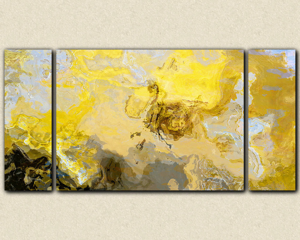 Abstract art print triptych large canvas print yellow gray and white