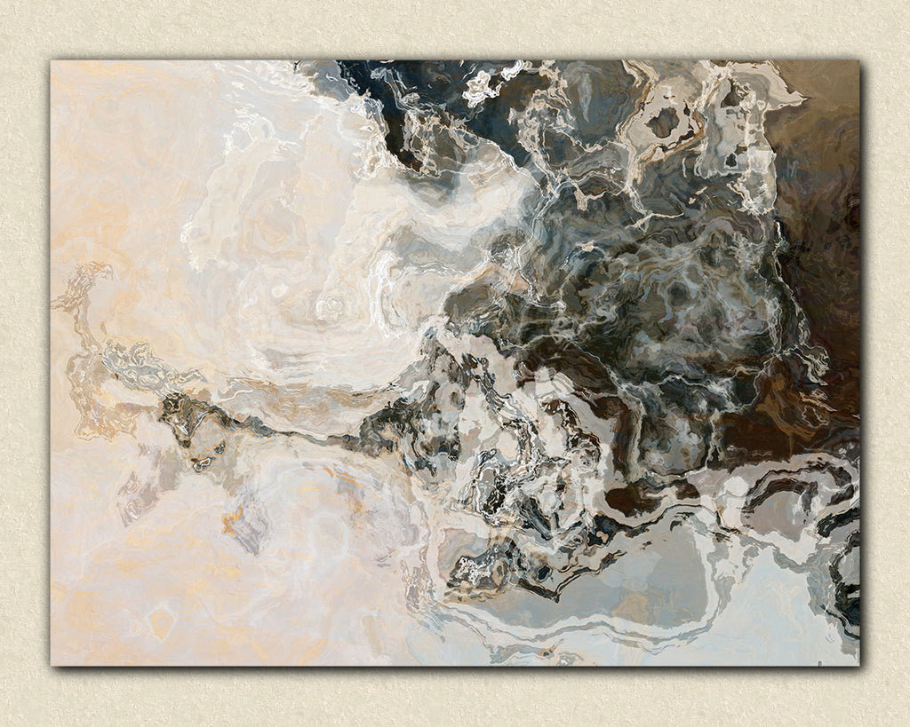 Large abstract expressionism stretched canvas print neutral tones