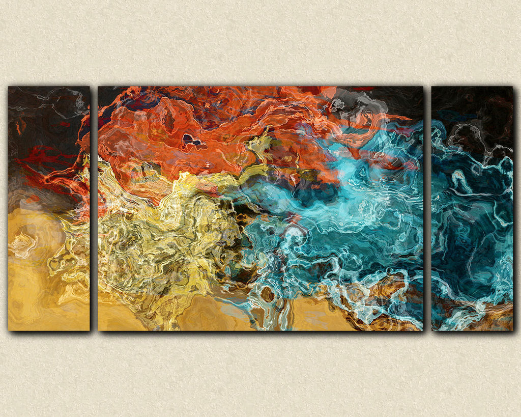 Abstract wall art stretched canvas print in earth colors