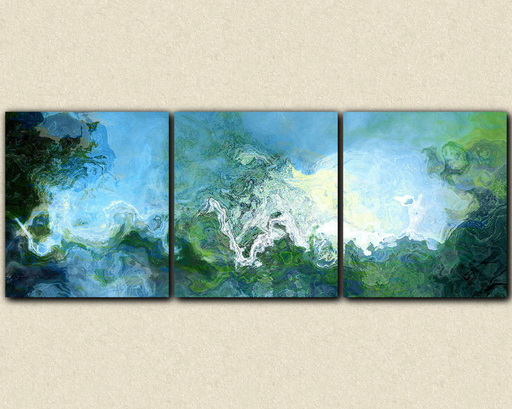 Oversized blue triptych abstract expressionism stretched canvas print
