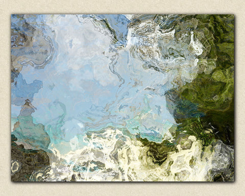 "Large abstract expressionism, 30x40 to 40x54 giclee stretched canvas print, in blue and green, ""In Clear Pools"""