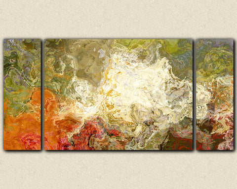 Oversize triptych contemporary art canvas print olive green and orange