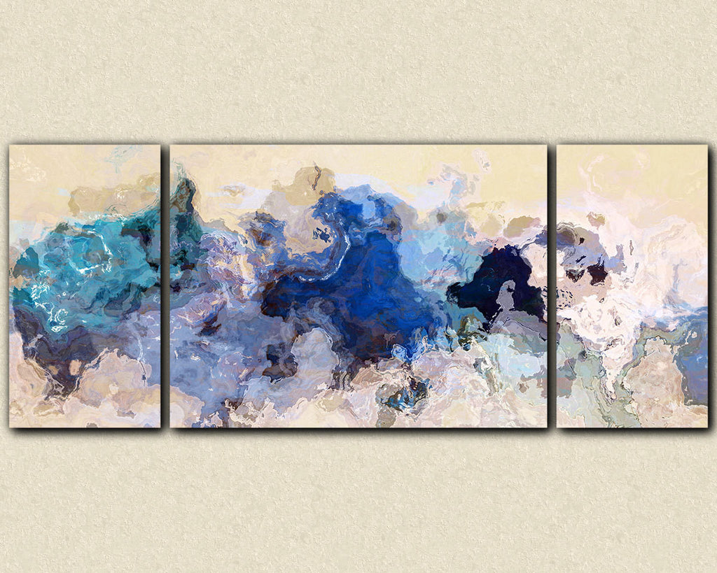 Large abstract expressionism triptych canvas print, blue, gray, cream