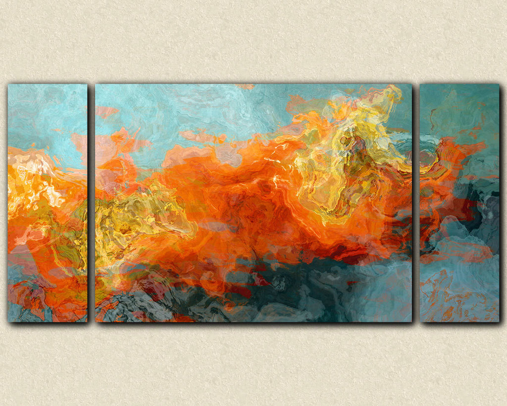 Abstract art sofa sized triptych canvas print in orange and blue