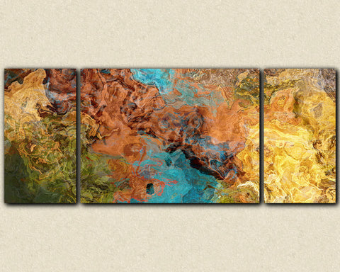 "Very large triptych art stretched canvas print, 30x72 to 40x90, in earthy brown, olive, yellow and turquoise, ""Chocolate Persuasion"""