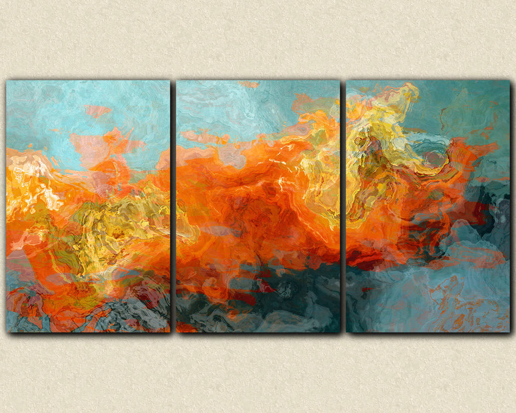 Extra Large Abstract Art Canvas Print Triptych Orange yellow blue