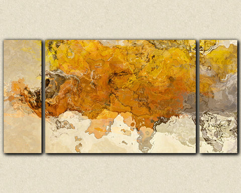 "Large triptych abstract expressionism stretched canvas print, 30x60 to 40x78 in golden yellow, ""Early This Morning"""