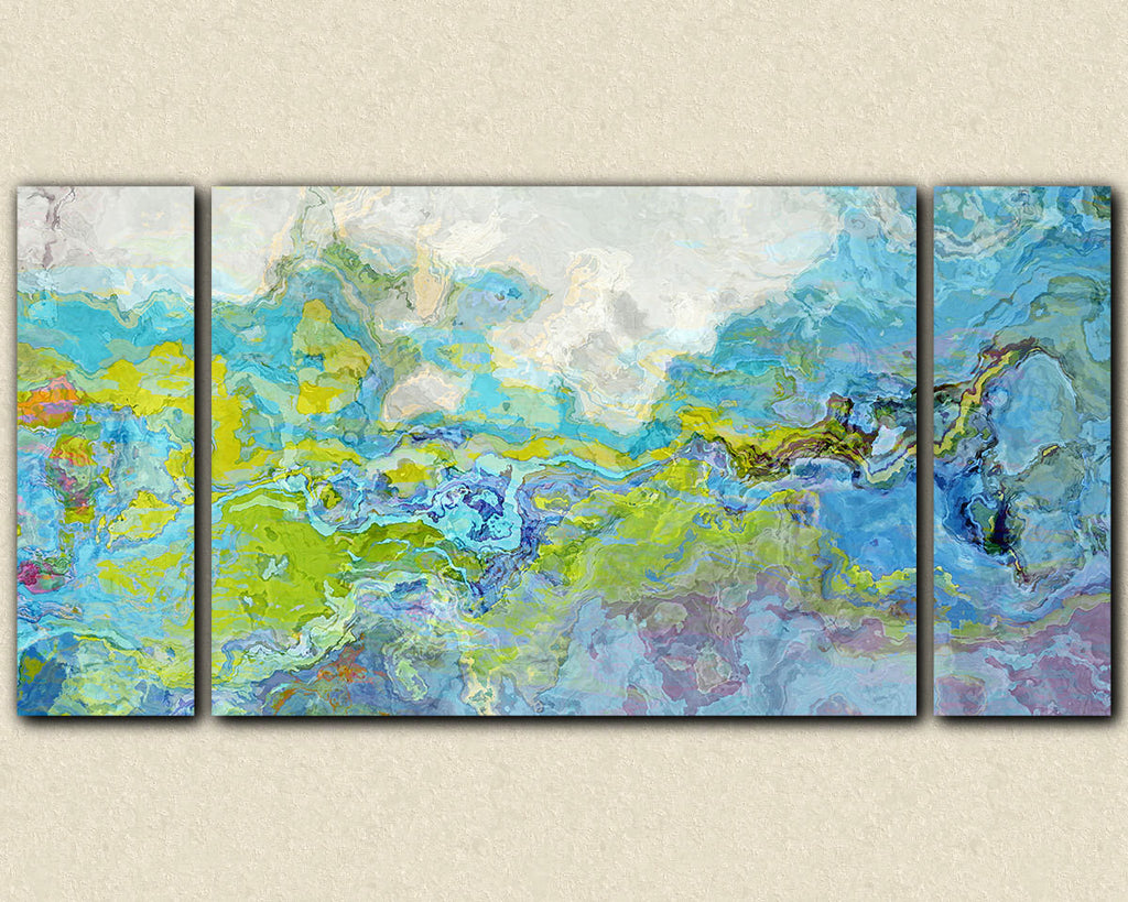 Triptych contemporary abstract expressionism canvas print blue green