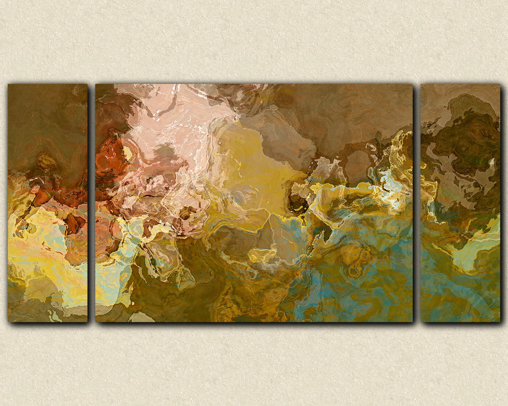 Oversize contemporary abstract triptych canvas print in earth tones