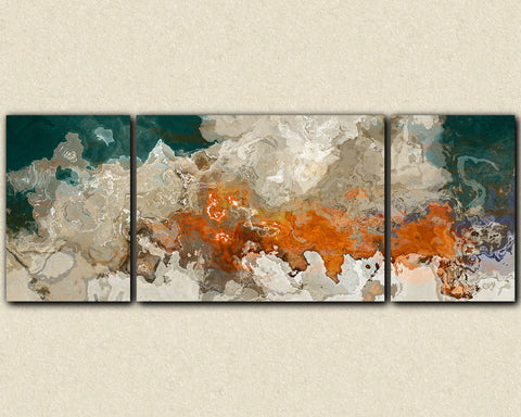 "Extra Large triptych abstract art 30x80 to 34x90 canvas print, in blue green, beige and orange, ""Le Hoogie Boogie"""