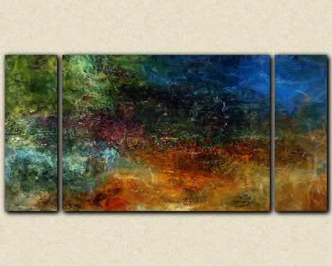 Large triptych canvas print sofa sized dark moody abstract art