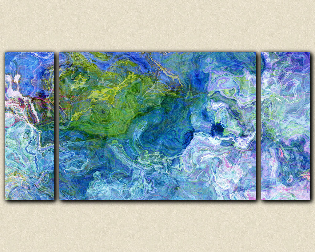Oversize triptych stretched canvas print abstract in blue and green