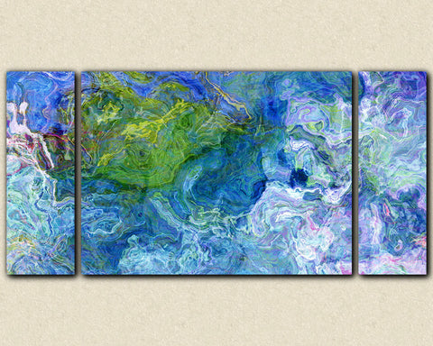 "Oversize triptych stretched canvas print, 30x60 to 40x78, abstract in blue and green, ""Deep Water"""