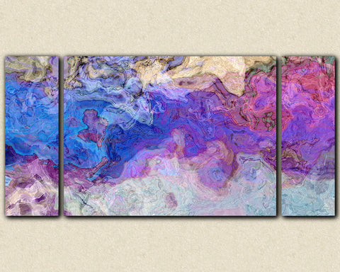 Triptych abstract art canvas print stretched canvas in purple and blue