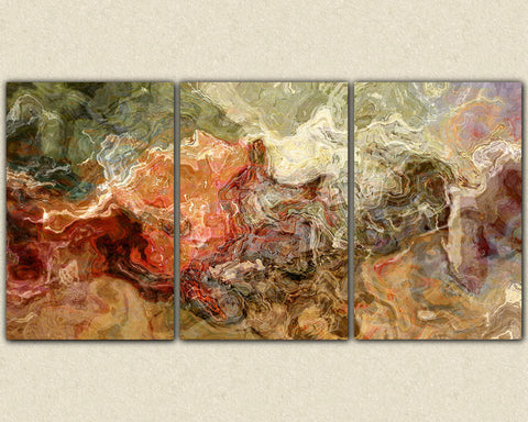 Extra Large Abstract Art Canvas Print Triptych In Earth Colors