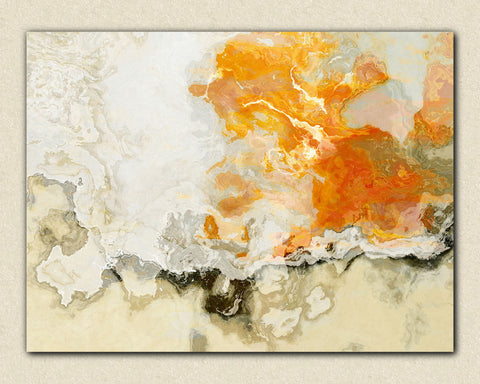 "Large abstract expressionism stretched canvas print, 24x32 to 40x54 in orange and beige, ""Rhymes With Orange"""