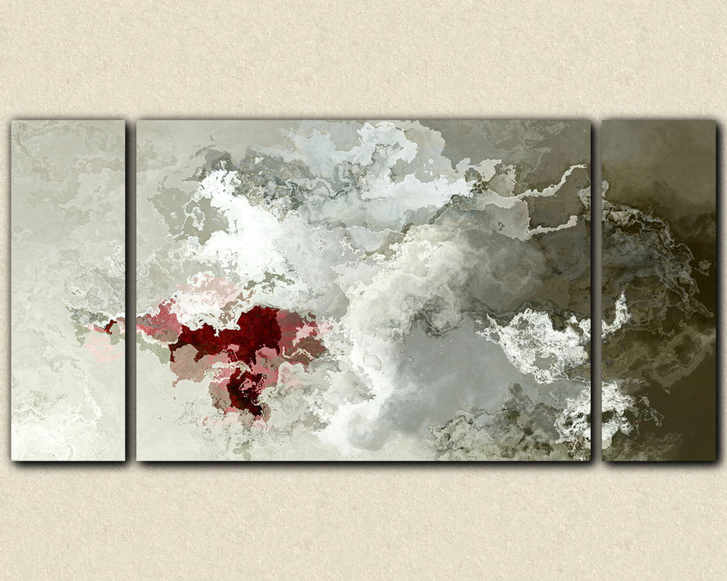 Large triptych abstract expressionism stretched canvas print in neutral tones with red