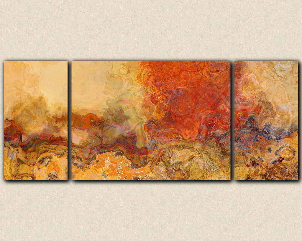 Extra large triptych abstract art canvas print red orange and tan