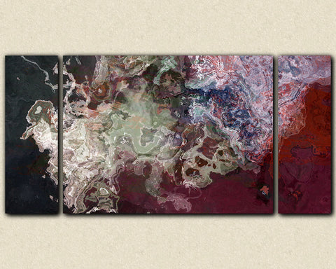 Large triptych abstract canvas print with gallery wrap in bright color