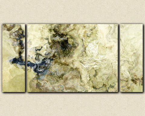 "Oversize triptych abstract expressionism art gallery wrap canvas print, 30x60 to 40x78 in titanium, ""Stone Creek"""