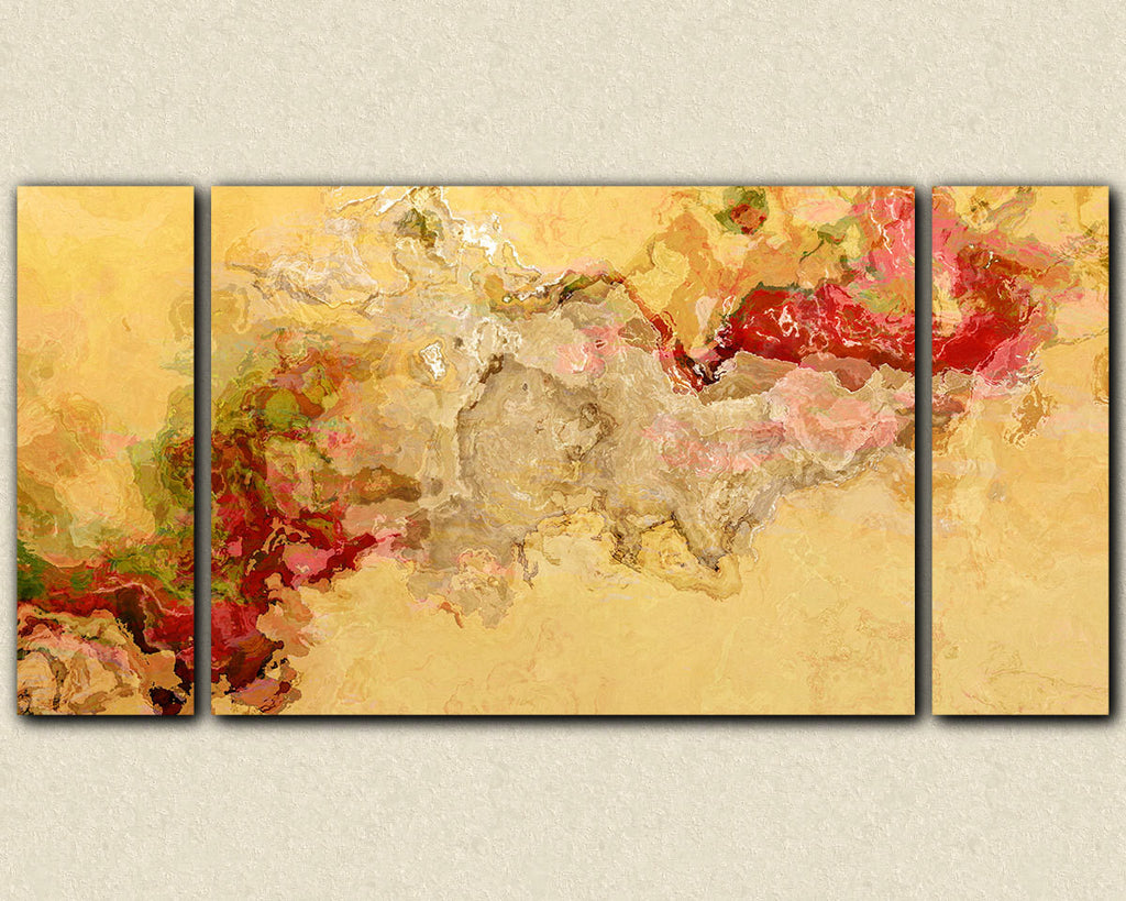 Abstract art large red and beige triptych canvas print