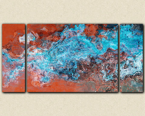 "Large triptych abstract art stretched canvas print, 30x60 to 40x78 in turquoise and copper, ""Southwest Spirit"""