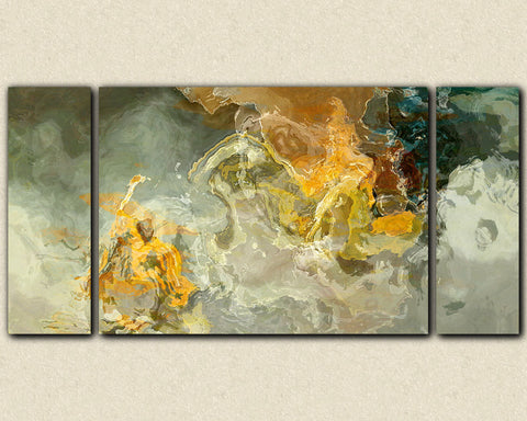 Oversize triptych abstract art canvas print in earth colors