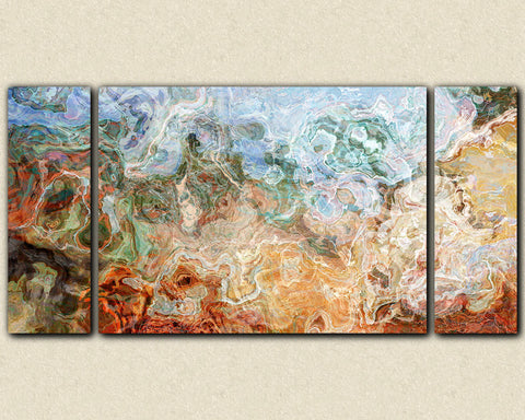 Triptych abstract expressionism print in brown green and red-orange