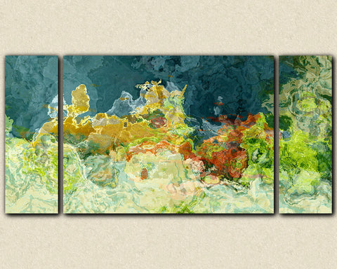 "Abstract art triptych gallery wrap giclee canvas print, in teal and green, ""The Finer Things"", 30x60 to 40x78"