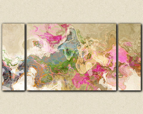 "Abstract art, large 30x60 to 40x78 triptych gallery wrap giclee canvas print, in pastel pink and blue, ""Dream a Little Dream"""