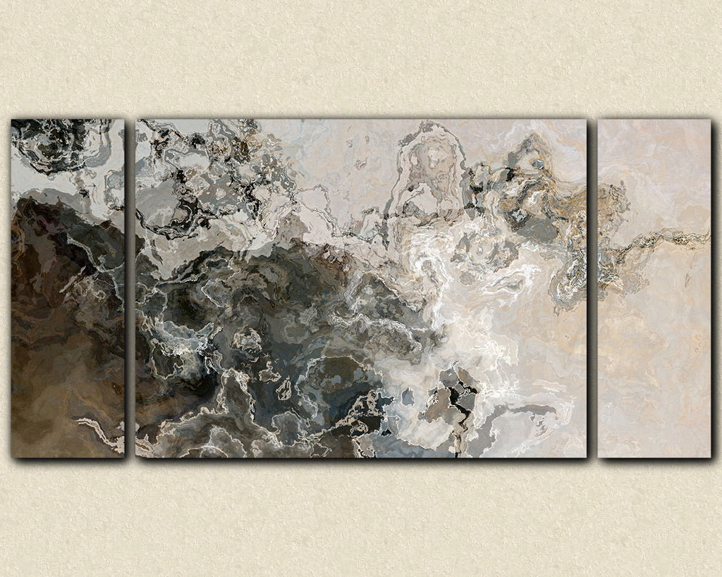 Large modern art abstract triptych canvas print in neutral warm gray