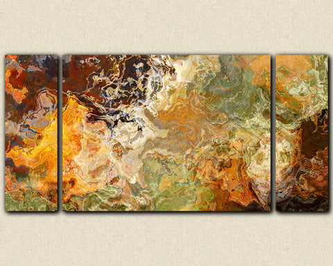 "Oversize triptych abstract  art stretched canvas print, 30x60 to 40x78, in orange and brown, ""Didn't He Ramble"""