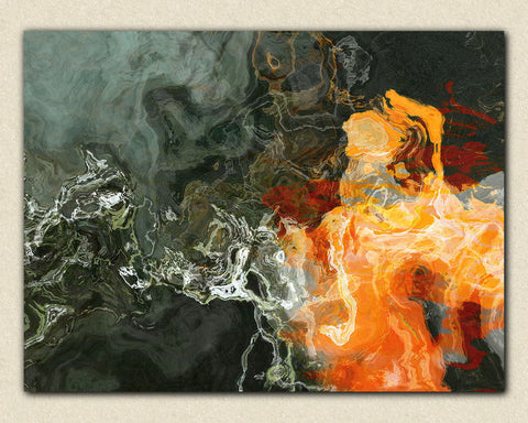 "Large canvas wall art, 30x40 to 40x54, abstract expressionism print in orange and dark neutral tones, ""Pilgrim"""