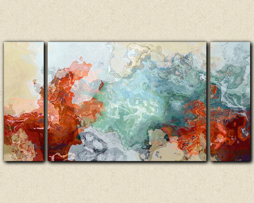 Large triptych abstract expressionism stretched canvas print, red blue