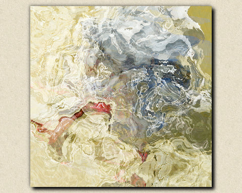 "Abstract contemporary art stretched canvas print, 30x30 to 36x36 in neutral tones, ""Time Warp"""