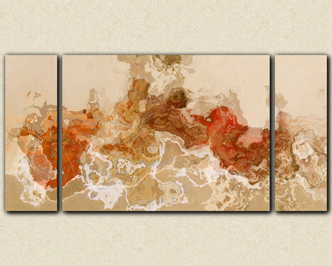 Large triptych abstract canvas print with gallery wrap in beige, rust and brown
