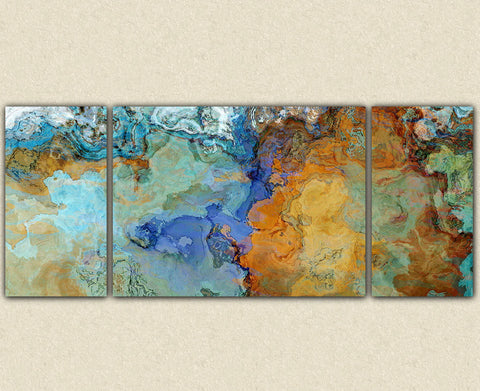 "Very large abstract wall art canvas print, 30x72 to 40x90 triptych in brown and blue, ""Crossing the Bridge"""